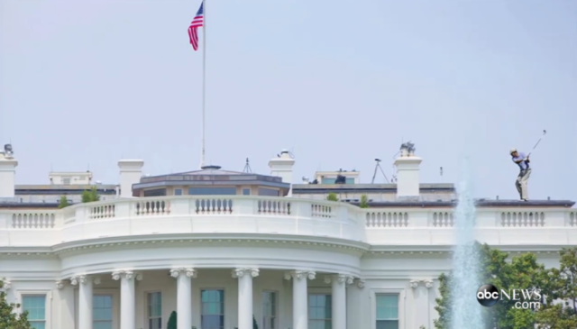 Screen Shot from video played during Presidential speech of Obama playing golf on top of the White House